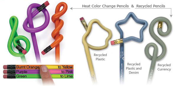 Heat Color Change Pencils and Recycled Pencils